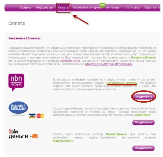 личный кабинет личного кабинета NetByNet.ru