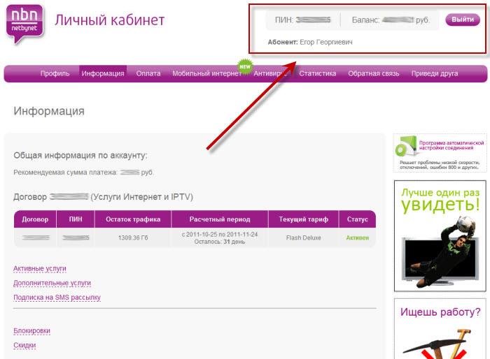 личного кабинета NetByNet.ru баланс